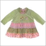 Catimini *Une Souris Verte* Green/Pink Layered Mouse Dress