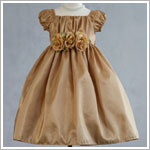 Crayon Kids GOLD S/S Gathered Front Tri-Flower Dress