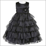 Z: Crayon Kids BLACK Sleeveless Layered Dress w/ Flower