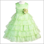 Z: Crayon Kids LIME Sleeveless Layered Dress w/ Flower