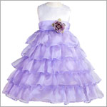 Z: Crayon Kids WHITE/PURPLE Sleeveless Layered Dress w/ Flower