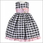 Z: Crayon Kids Black/Pink Sleeveless Plaid Dress w/ Flower