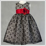Z: Crayon Kids Sleeveless Black Floral Lace Dress w/ Red Sash and Flower