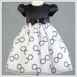 Z: Crayon Kids S/S Black/White Circle Dress w/ Bow