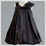 Z: Crayon Kids BLACK Sleeveless Side Flower Pleated Bubble Dress