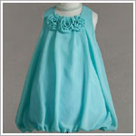 Z: Crayon Kids Turquoise Tri Flower Sleeveless Bubble Dress