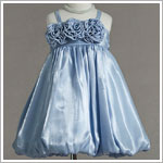 Z: Crayon Kids LIGHT BLUE Strappy Tri-Flower Bubble Dress