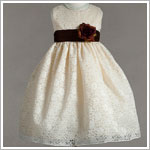 Z: Crayon Kids Sleeveless Ivory Floral Lace Dress w/ Brown Sash and Flower