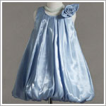 Z: Crayon Kids BLUE Sleeveless Side Flower Pleated Bubble Dress