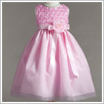 Z: Crayon Kids Pink Sleeveless Rose Bodice Dress w/ Sash & Flower