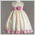 Z: Crayon Kids Banana Sleeveless Dress w/ Pink Floral Embroiderey & Sash