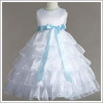 Z: Crayon Kids White Sleeveless Tiered Layer Dress w/ Light Blue Ribbon