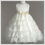 Z: Crayon Kids Ivory Sleeveless Tiered Layer Dress w/ Ivory Ribbon