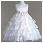 Z: Crayon Kids White Sleeveless Tiered Layer Dress w/ Pink Ribbon