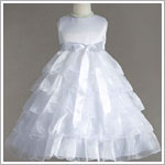Z: Crayon Kids White Sleeveless Tiered Layer Dress w/ White Ribbon
