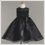 Z: Crayon Kids Black Sleeveless Sheer & Roses Dress w/ Ribbon