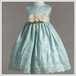 Z: Crayon Kids Aqua Sleeveless Dress w/ Cream Sash & Embroidery