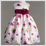 Z: Crayon Kids Fuschia/White Floral Print Sleeveless Dress w/ Sash