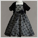 Z: Crayon Kids Black/White Strappy Floral Bubble Dress & Shrug Set