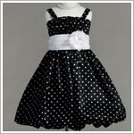 Z: Crayon Kids Black Strappy Bubble Dress w/ White Dots & White Sash