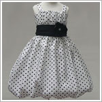 Z: Crayon Kids White Strappy Bubble Dress w/ Black Dots & Black Sash