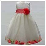 Z: Crayon Kids Ivory/Coral Sleeveless Petal Dress