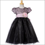 Crayon Kids Pink & Black Puff Sleeve Embroidered Dress