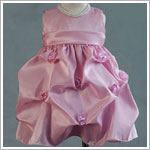 Z: Crayon Kids Pink Sleeveless Infant Gathered Dress w/ Roses