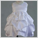 Z: Crayon Kids White Sleeveless Infant Gathered Dress w/ Roses