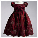 Z: Crayon Kids Burgundy S/S Floral Print Dress w/ 3 Flowers