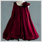 Z: Crayon Kids RED Sleeveless Side Flower Pleated Bubble Dress