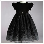 Z: Crayon Kids Black S/S Dress w/ Holiday Glamour Skirt