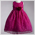 Z: Crayon Kids Fuschia Sleeveless Sheer Overlay Embroidered Flower Vine Dress