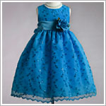Z: Crayon Kids Turquoise Sleeveless Sheer Overlay Embroidered Flower Vine Dress