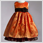 Z: Crayon Kids Orange/Brown Sleeveless Embroidered Flower Vine Ruffle Dress