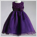 Z: Crayon Kids Purple Sleeveless Dress w/ Rose Bodice & Printed Sash