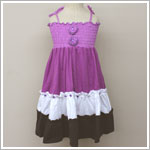 Danica and Dylan Purple/White/Brown Color Block Tiered Dress
