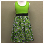 Danica and Dylan Lime Green Tank Dress with Floral Skirt