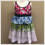 Danica and Dylan White Multi Floral Tiered Babydoll Dress