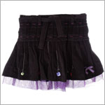 Deux Par Deux Dark Grey Pleated Fine Cord Skirt w/ Purple Netting