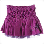 Deux Par Deux Fuchsia Fine Cord Smocked & Pleated Skirt