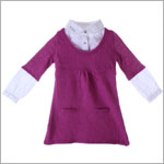 Deux Par Deux Fuchsia L/S Two-Fer Sweater Dress