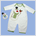II: Dressed to Drool Ivory Snowman Coverall w/ Rattle