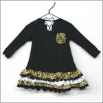Frillys Black Ruffle Dress With Leopard/Gold Layer Ruffle Trim