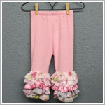 Frillys Pink Leggings With Floral & Lace Layer Ruffle Trim