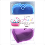 Ganz Silicone PURPLE/BLUE HEART Cupcake Molds *Set of 6*