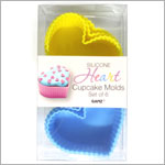 Ganz Silicone BLUE/YELLOW HEART Cupcake Molds *Set of 6*