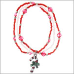Ganz Red/White 3 Strand Beaded Christmas Candy Cane Bracelet