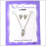 Ganz First Communion Jewel Earring/Necklace Set *White or Yellow*
