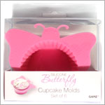 Ganz Silicone PINK BUTTERFLY Cupcake Mold *Set of 6*